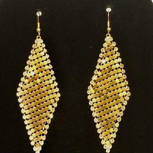 Gold tone metallic mesh lightweight dangle earring